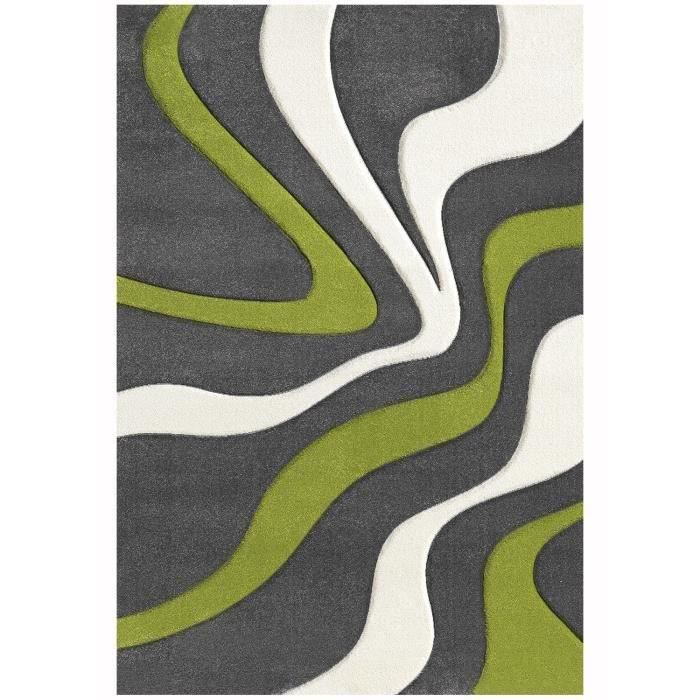diamond vagues tapis de salon 120x170 cm vert achat vente tapis 100 polypropyl ne cdiscount. Black Bedroom Furniture Sets. Home Design Ideas
