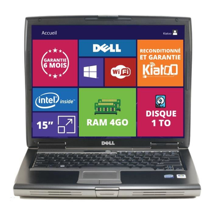 PC RECONDITIONNÉ PC PORTABLE  DELL LATITUDE D520 15 POUCES 4GO RAM