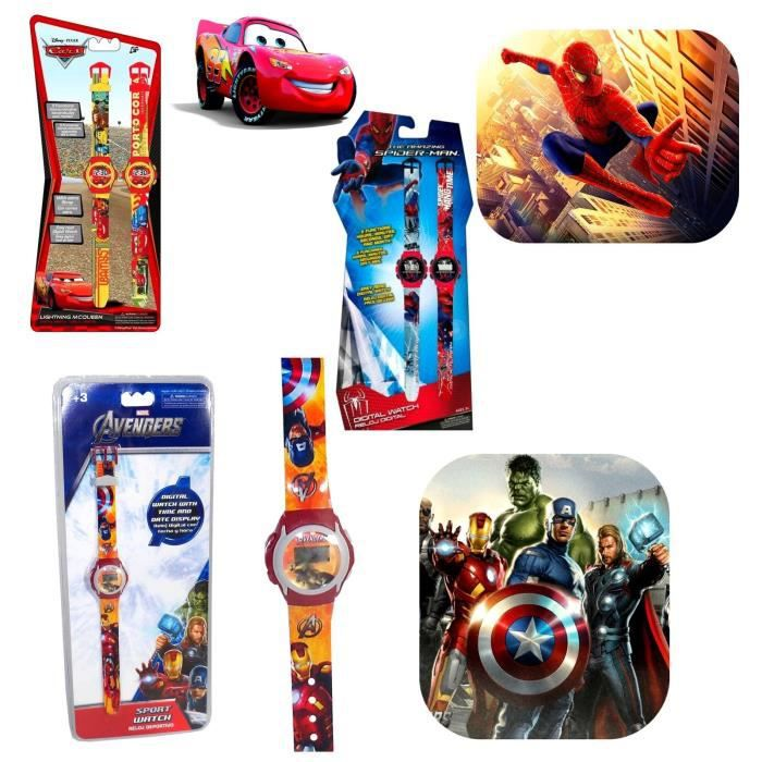 montre enfant disney marvel spiderman cars avengers planes digital iron man hulk achat vente. Black Bedroom Furniture Sets. Home Design Ideas