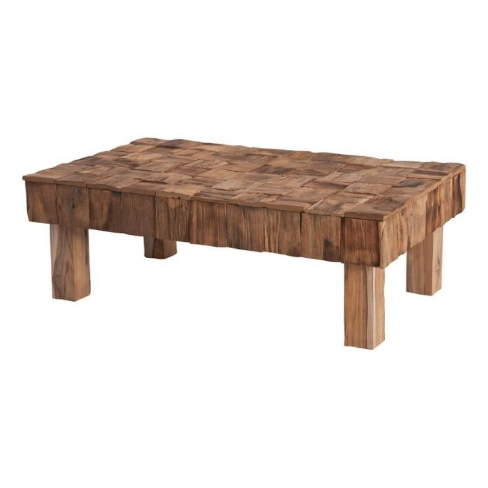table basse en rondins de teck nature inwood achat. Black Bedroom Furniture Sets. Home Design Ideas