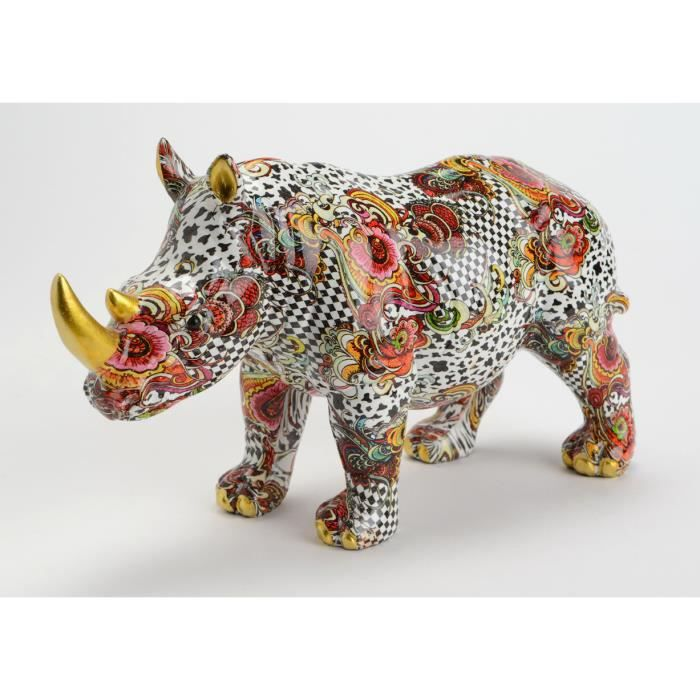 objet d co couleur rhinoceros kawai achat vente statue statuette cdiscount. Black Bedroom Furniture Sets. Home Design Ideas