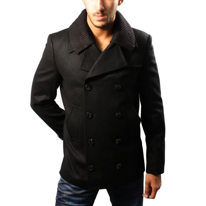 homme manteau veste caban fashion noir noir achat vente manteau caban cdiscount. Black Bedroom Furniture Sets. Home Design Ideas