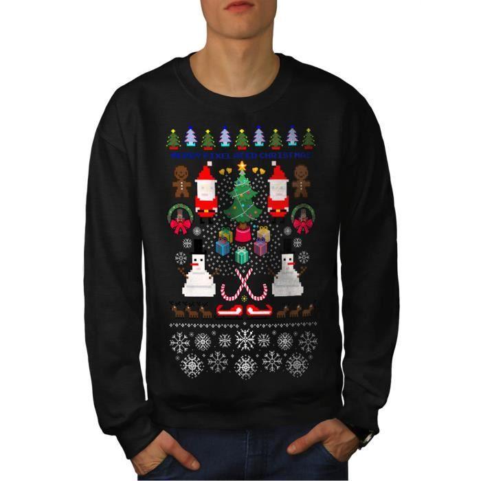Père Noël Bonhomme De Neige Noël Pixel Père Noël Men S 7xl Sweat Shirt Wellcoda