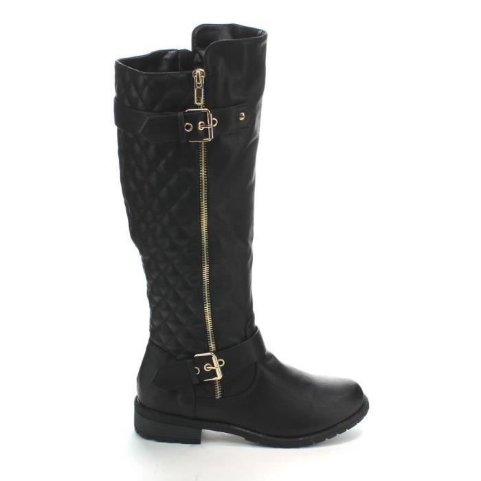 Reveal Over The Knee Quilted Zipper Round Riding Boots U3G2P Taille-39