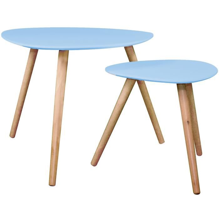 table basse wald bleue lot de 2 achat vente table. Black Bedroom Furniture Sets. Home Design Ideas