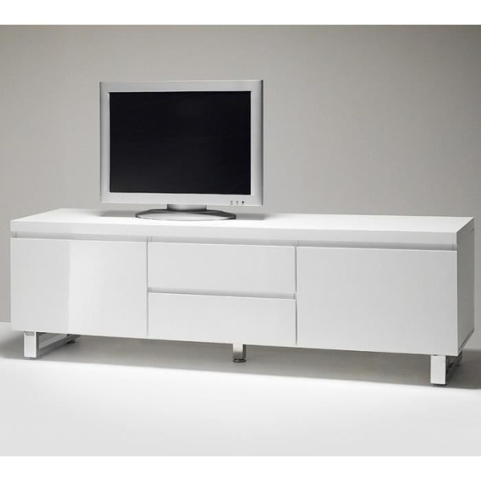 meuble tv blanc brillant achat vente meuble tv meuble tv blanc brillant cdiscount. Black Bedroom Furniture Sets. Home Design Ideas