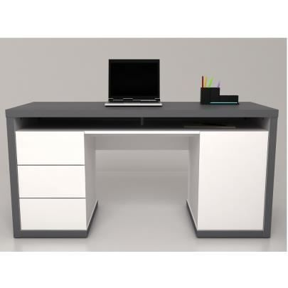 bureau avec rangements igor blanc et gris achat. Black Bedroom Furniture Sets. Home Design Ideas