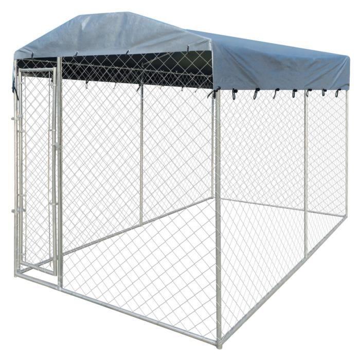 ENCLOS - CHENIL vidaXL Chenil d'extérieur avec toit pour chiens 4