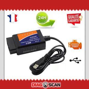 OUTIL DE DIAGNOSTIC VALISE INTERFACE ELM327 OBD2 USB VOITURE SCANNER O