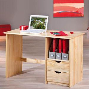 BUREAU  Bureau coloris naturel avec 2 tiroirs - Dim : L 11