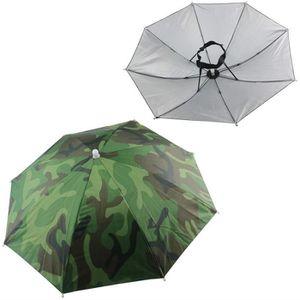 Camouflage Pattern Elastic Bandeau Soleil Pluie Nylon Pliable Parapluie Chapeau Bonnet