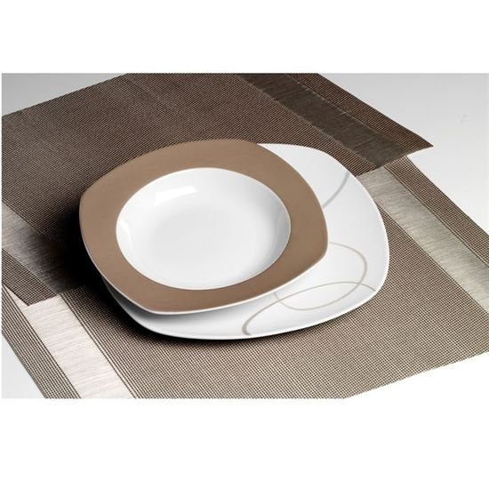 Set 12 Pieces Porcelaine Alinea Marron Achat Vente Service