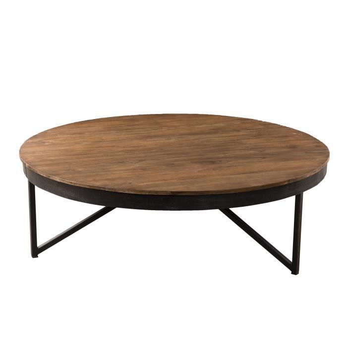 Table basse ronde - Teck recyclé pieds métal - Marron - Industriel - 110 x 110 x 36 cm