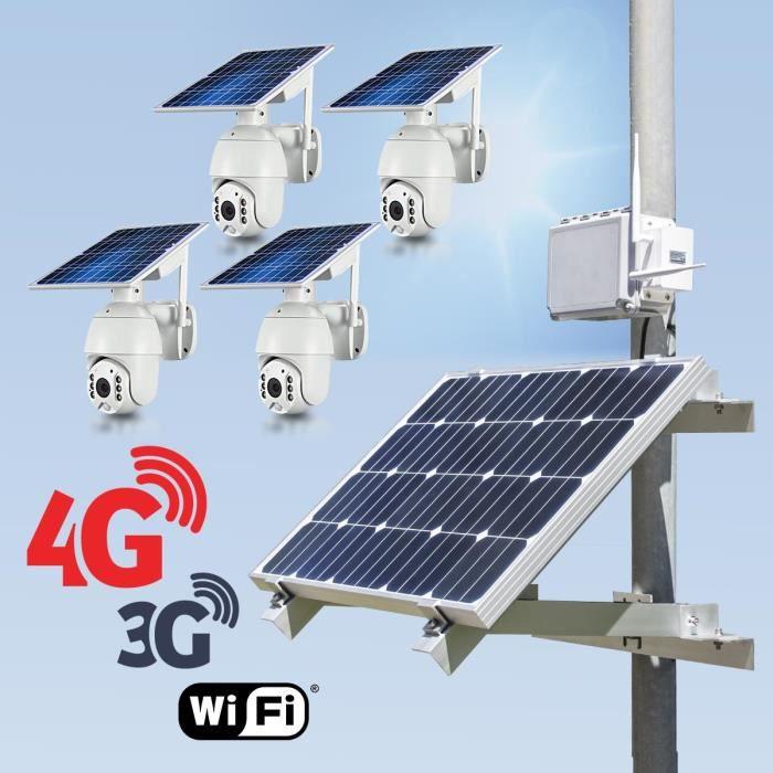 Kit vidéosurveillance 3G 4G autonome solaire avec 4 caméras pilotables solaires WiFi HD 1080P 64 Go