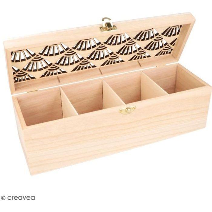 Boîte à thé en bois à décorer - Japan - 3 compartiments - 30 x 10 cm