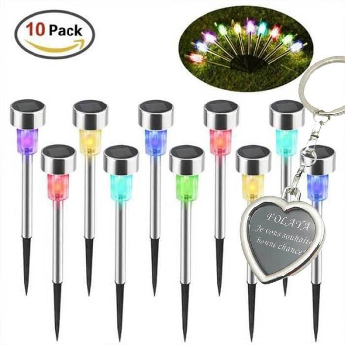 Lumières de Jardin Solaires, IP65 étanche Paysage Coloré/Pathway Lampe en Acier Inoxydable LED Solaire Lumières ( 10 pièces )