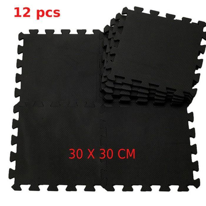 12pcs mousse domestique noir mat Puzzle Tapis Salon Hall Chambre
