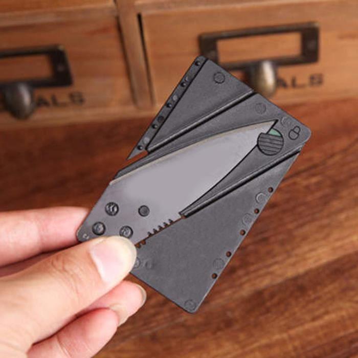 Couteau Pliant de Poche Outil Extérieur Canif Multifonction Format Carte Crédit