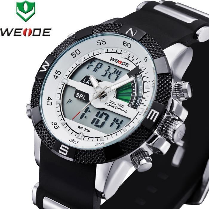 Weide montres à quartz hommes montres de sport de luxe plongeur étanche analogique relogio hommes d'horloge numériques marque hau...