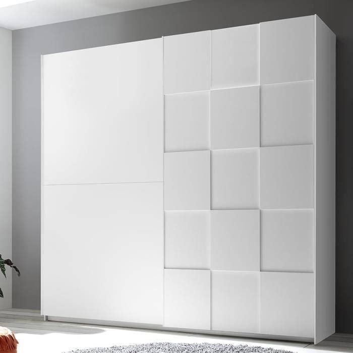 Armoire 220 cm design blanc laqué TIAVANO Blanc L 220 x P 64 x H 210 cm