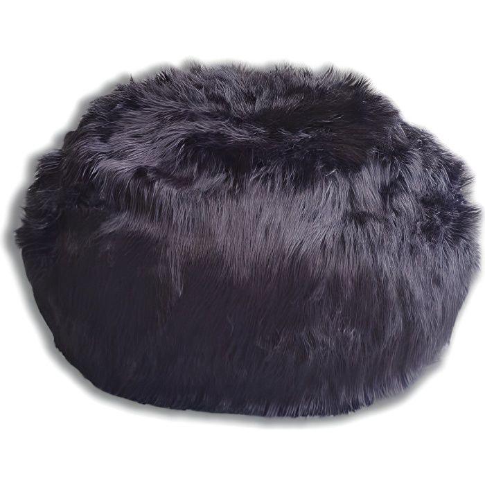 Pouf Fourrure Longue Noire 80 cm Rempli de Mousse Déchiquetée Ultra Confortable Poire Coussin Double Housse Lavable en Machine