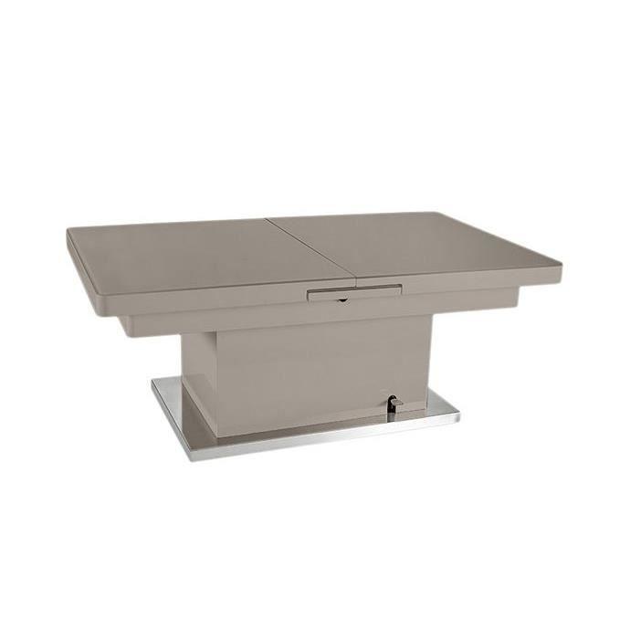 Table basse relevable en verre - taupe - L125-L150 x H51-75 x P75 cm