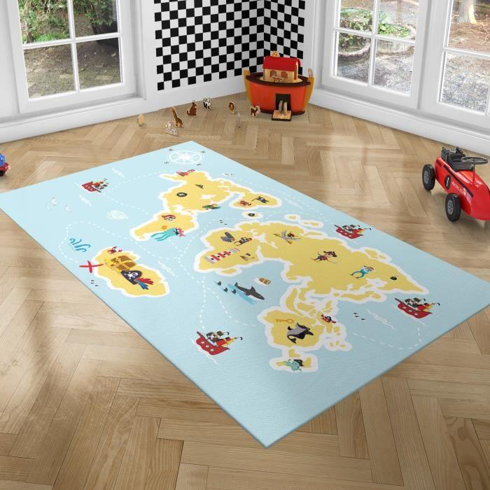 PLAYGROUND Tapis de Jeux pour Enfants - Tapis de Chambre - Pirate - 100x150 cm