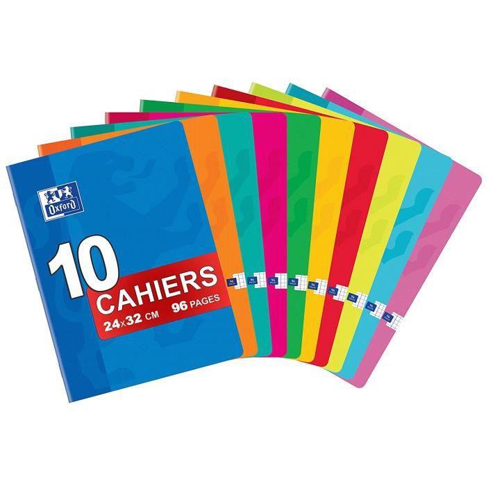 OXFORD Classique Lot de 10 Cahiers Agrafés Grands Formats 24 x 32cm 96 Pages Petits Carreaux 5 x 5mm Couleurs Assorties