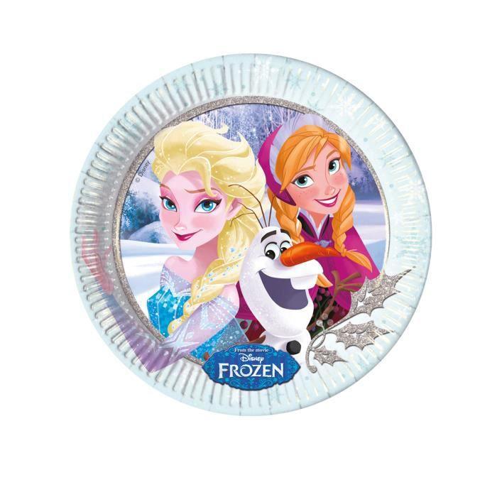8 Assiettes en carton La Reine des Neiges câlins d'hiver 23 cm