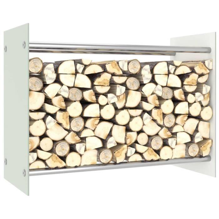 Elégant - Portant de bois de chauffage Haut de gamme - Abri Bûches Range Bûches Portant de stockage Blanc 80x35x60 cm Verre @231792