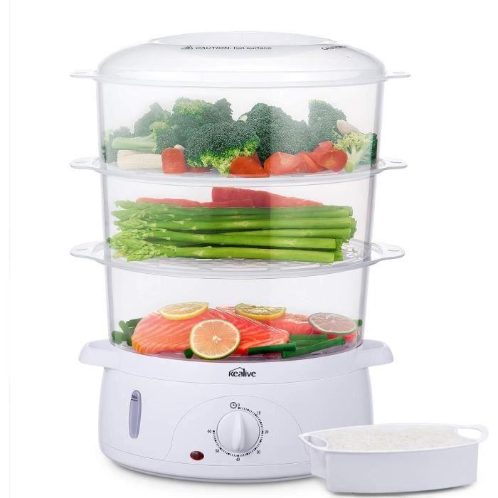 Cuiseur vapeur, Cuiseur vapeurs electrique sans BPA, Paniers empilables à 3 niveaux, Cuiseur legumes avec porte-œufs et bol à riz, m