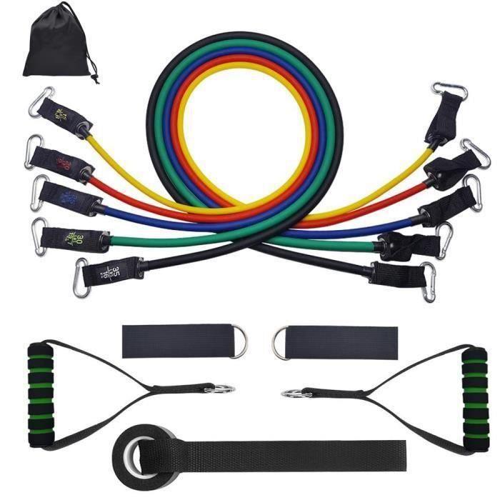 Bande de Résistance Set, 15-35 LBS Bandes de Fitness Elastiques Kit avec Crochet de Porte et Sangle de Cheville pour