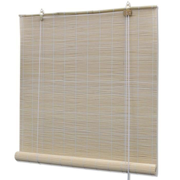 Store Enrouleur Roulant en Bambou 100 x 220 cm Naturel