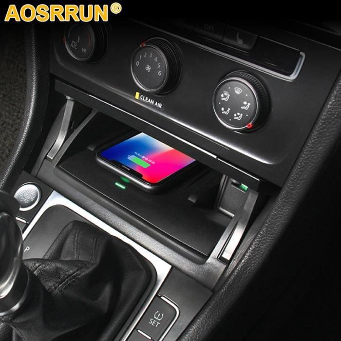 Amenagement Interieur,Pour Volkswagen VW Golf 7 MK7 accessoires de voiture téléphone portable 15W QI chargeur sans fil adaptateur