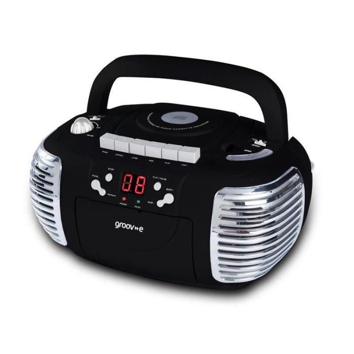 Groov-e GVPS813BK Boombox Rétro Noir AM - FM Radio Portable Lecteur CD - Cassette