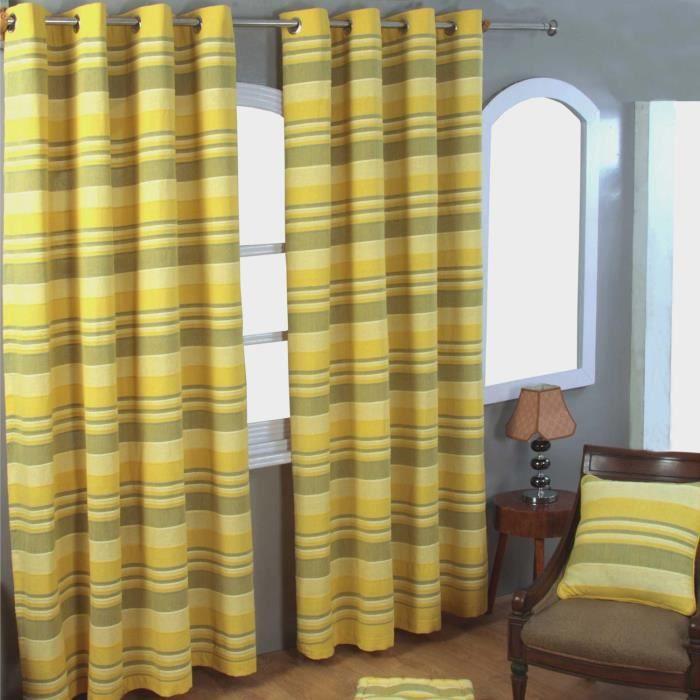 Paire de rideaux à oeillets - Morocco Rayures - Jaune 137 x 137 cm
