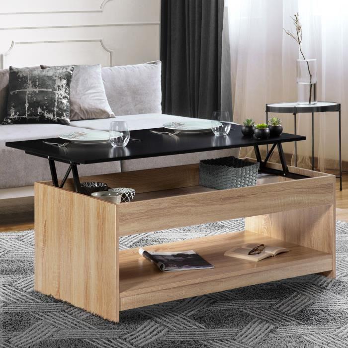 Table basse plateau relevable SOA bois imitation hêtre plateau noir
