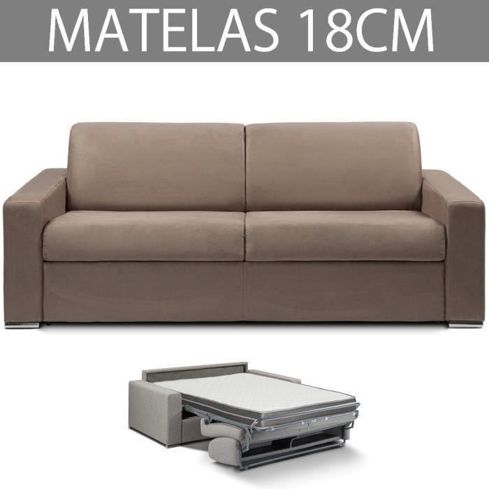 Canapé convertible EXPRESS 3/4 places en microfibre taupe - Couchage 160cm - Epaisseur matelas 18cm - MASTER