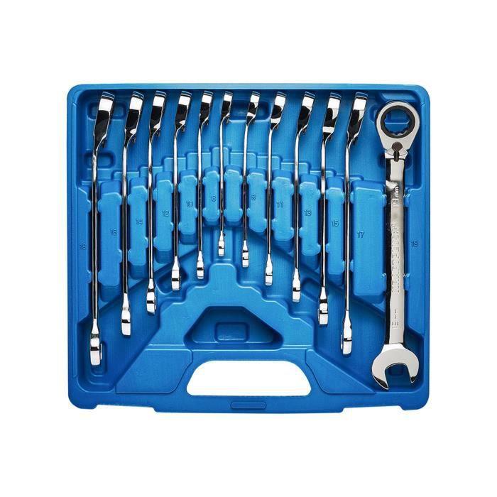 KRAFTPLUS® K.130-9212 Jeu de clés mixtes à cliquet réversible 12 pcs - 8-19 mm - avec coffret