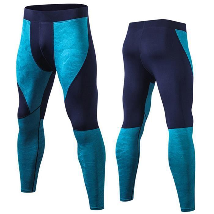 Hommes Pantalon à Neuf Points Sport Legging PRO Fitness Sec Rapide Haute Élasticité Training Survêtement Couture de Collision Vert