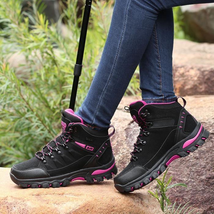 Femmes Sports de plein air Escalade Chaussures de randonnée Chaussures de randonnée imperméables Noir