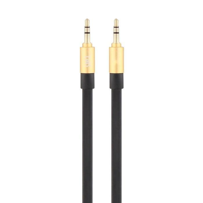 T'nB Câble Jack Plat 3.5/3.5 Tablette Smartphone Lecteur MP3/MP4 - Noir et Or - 110 cm