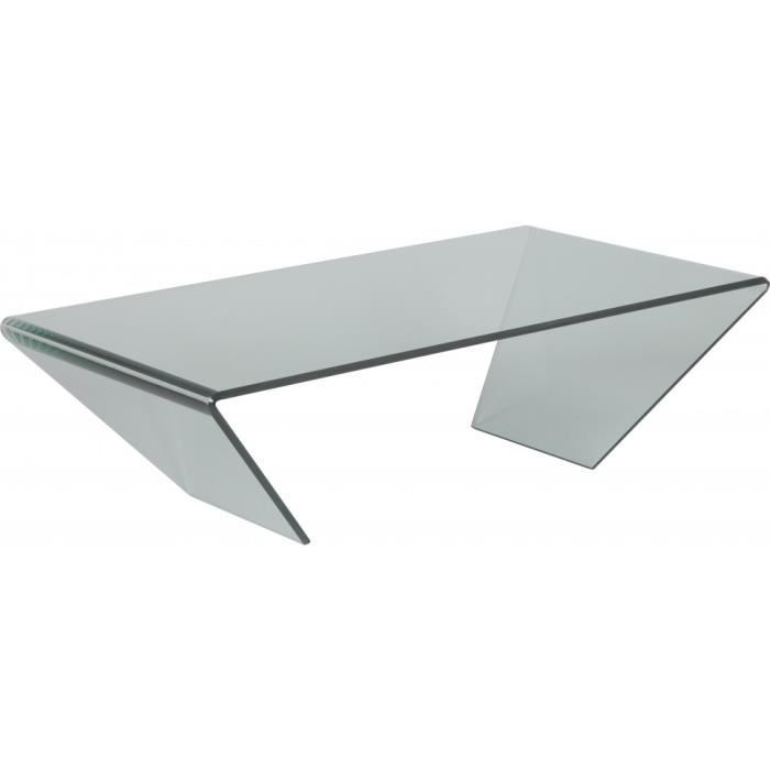 Table basse design verre courb achat vente table for Tables basses de salon en verre