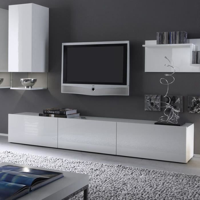banc tv blanc laqu design foxy achat vente meuble tv. Black Bedroom Furniture Sets. Home Design Ideas