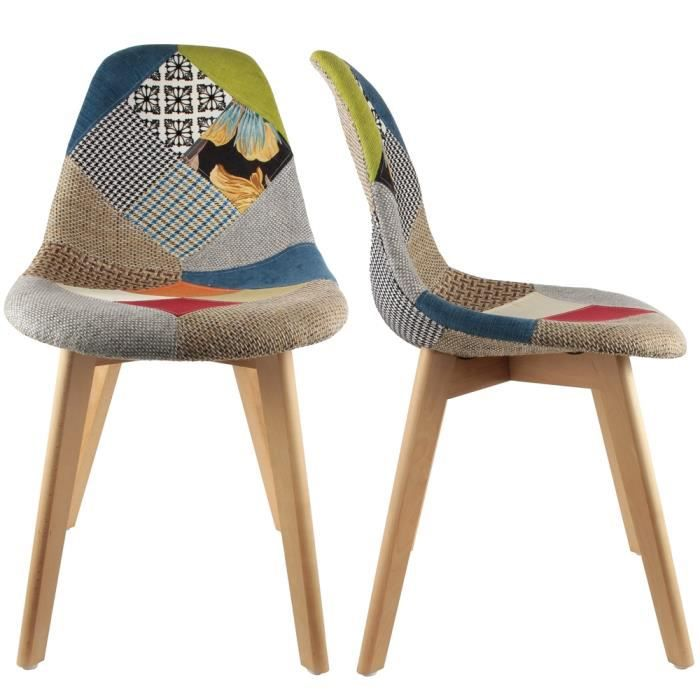 Chaise stokholm patchwork pieds bois lot de 2 multicolore for Chaise 2 pieds