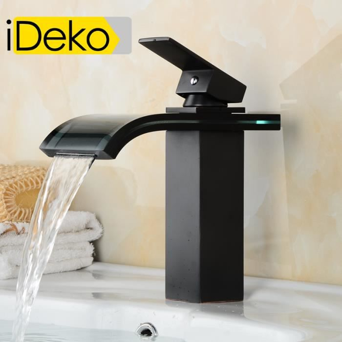 ideko robinet mitigeur lavabo cascade salle de bain en verre c ramique noir flexible achat. Black Bedroom Furniture Sets. Home Design Ideas