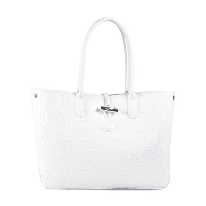 LONGCHAMP - sac femme porté épaule en cuir - BLANC ROSEAU CROCO ...
