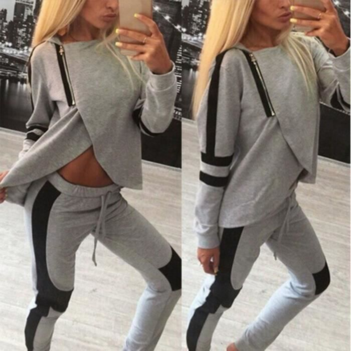 la mode des femmes au pantalon de surv tement sweat capuches sport costume d contract gris. Black Bedroom Furniture Sets. Home Design Ideas