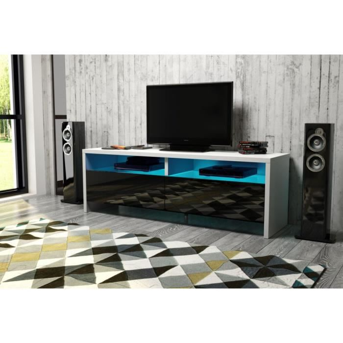panama meuble tv contemporain noir mat et noir brillant led achat vente meuble tv panama. Black Bedroom Furniture Sets. Home Design Ideas