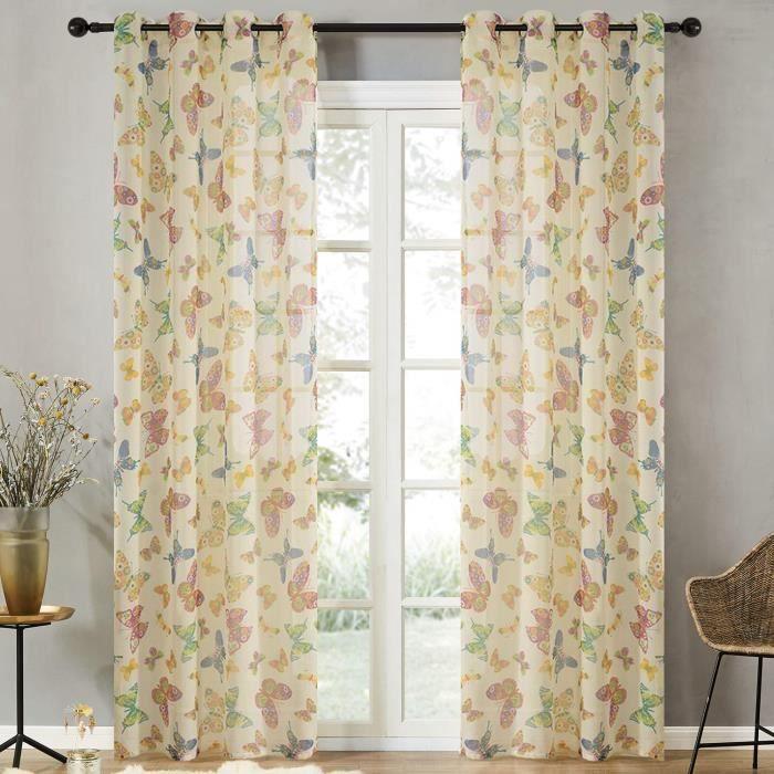 Rideau Voilage de Fenêtre de Papillon Décoration pour Chambre Salon